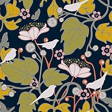 Hanna Werning 1315 Vliestapete Blüten und Vögel Schwarz