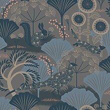 Hanna Werning Wonderland 1470 Vliestapete Waldtiere mit Blüten und Blättern Grau- und Brautöne und blau