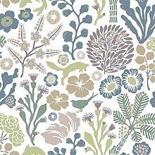 Hanna Werning Wonderland 1472 Vliestapete Waldtiere mit Blüten, Korallen und Tiere in grün, graublau und Brautönen auf weiß