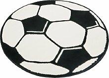Hanse Home 100015 Fußballteppich rund, 150 cm, schwarz / weiß