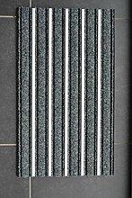 Hanse Home 102049 Alu Fussmatte mit Aluminium Profil, Polypropylen, Grau, 47,5 x 75 x 1,3 cm