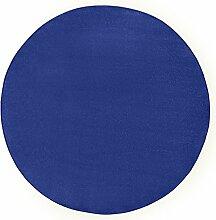 Hanse Home Runder Teppich Unifarben Niedrigflor Fancy, Polypropylen, Blau, 133 x 133 x 0.7 cm