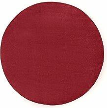 Hanse Home Runder Teppich Unifarben Niedrigflor Fancy, Polypropylen, Rot, 133 x 133 x 0.7 cm