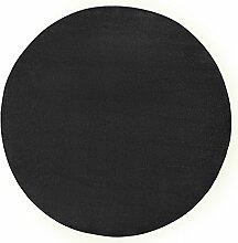 Hanse Home Runder Teppich Unifarben Niedrigflor Fancy, Polypropylen, Schwarz, 200 x 200 x 0.7 cm