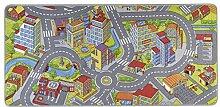 HANSE Home Spielteppich Kinderteppich Smartcity, Polyamid, Grau, 90 x 200 x 0.65 cm