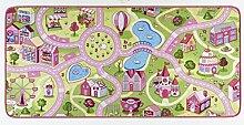 HANSE Home Spielteppich Kinderteppich Sweettown, Polyamid, Rosa, 140 x 200 x 0.65 cm