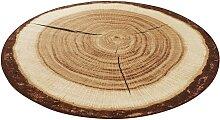HANSE Home Teppich Baumstamm, rund, 6 mm Höhe,