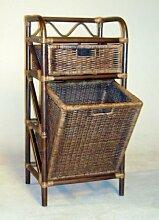 Hansen 2539/1-1 Rattanregal in dunkelbraun gebeizt mit 1 großen Schublade und einem Wäschebehälter B 45 T 35 H 95 cm