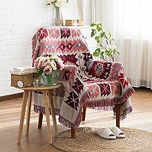 HANSHI Baumwolle Modischer Bohemian-Stil Steppdecke Kuscheldecke Sofaüberwurf Tagesdecke Wolldecke Wohndecke Sofa Bett Decke Supersoft 3 Muster zu wählen XT01(Rot)
