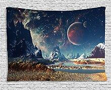 HANSHI Wandteppich Kakteengewächse Wald Mond Tropischer Wandteppich Schöne Dekoration für Ihr Zimmer 4 verschiedene Farben zu wählen HYC04 (Mond)