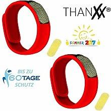 hanxx Mückenschutz 2x Armbänder + 4x Plättchen Insektenschutz Armband (Rot)