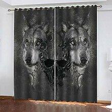 Hanzeze Verdunklungsgardine Tierwolf B336xL183cm