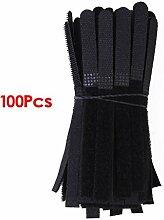 Haobase Kabelbinder mit Klettverschluss, 100 Stück, Schwarz