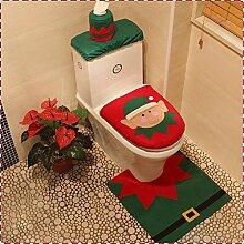 Haodasi 3Pcs Christmas Elf Decorations Bathroom Toilet Seat Cushion Chair Cover Rug Sets Weihnachten Dekorationen Stuhl-Abdeckung