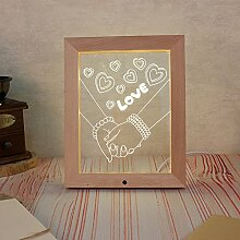 Haodasi Romantisch LOVE Geschnitzt LED Solide Holz Foto Rahmen Fern Kontrolle Dekoration Lampe