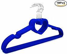 Haodou 10PCS Herzförmig Kleiderbügel Samt Beflockte Kleiderbügel mit Herz Leichte Kleiderbügel/Rutschfester Kleiderbügel/Kleiderbügel für Platzersparnis, Hemden, Hosen, Blusen, Schals, Mäntel(Blau)