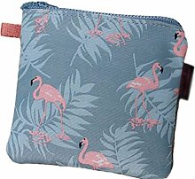 Haodou Damenbinden Taschen Flamingo - Muster Damenbinde Paket Sanitär Pad Tasche Lagerung Taschen Tuch Natur Stil Speicher Paket Mehrzweck-Quadrat-Paket 13*13cm(Grau)