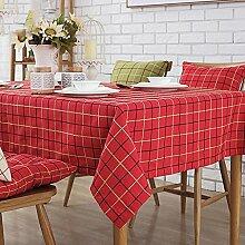 HAOLIA Amerikanisches Gitter Cotton Linen Tisch Couchtisch TV Counter Tischdecke Flag Rechteckiger Tisch Round Table Tuch rot Tischdecken ( größe : 120*170cm )