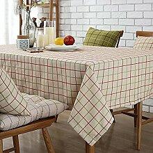 HAOLIA Amerikanisches Gitter Cotton Linen Tisch Couchtisch TV Counter Tischdecke Flag Rechteckiger Tisch Round Table Cloth Tischdecken ( größe : 90*135cm )