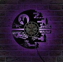 HAOLY Star Wars Uhr,Bunte LED-Uhr,Vinyl Record