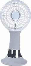 Haosen Desktop usb ventilator mini tragbare Multifunktions Klein lüfter - Mit Handyständer,wiederaufladbare,led Nachtlicht mini usb lüfter (Grau)