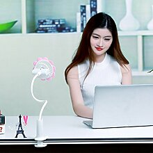 Haosen USB Mini Ventilator Sonnenblumen Clip-Fan - Versprechen Geschwindigkeit,Wiederaufladbare,360 ° Drehung mini tragbare klein lüfter (Rosa)