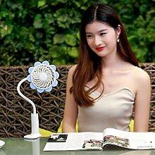 Haosen USB Mini Ventilator Sonnenblumen Clip-Fan - Versprechen Geschwindigkeit,Wiederaufladbare,360 ° Drehung mini tragbare klein lüfter (Blau)