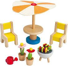 Hape Puppenhaus Gartenmöbel mit Grill [Kinderspielzeug]