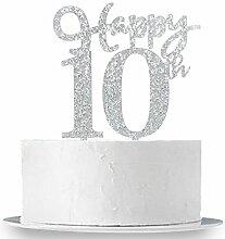 Happy 10. Cake Topper, Glitzer Silber 10.