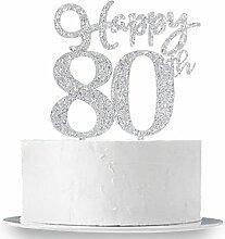 Happy 80. Cake Topper, Glitzer Silber 80.