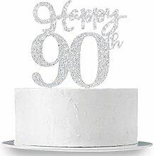 Happy 90. Cake Topper, Glitzer Silber zum 90.
