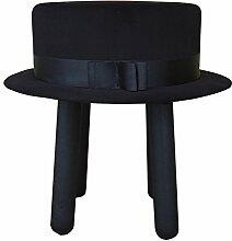 Happy Barok Hocker Hat, Velour, Schwarz, 48 x 48 x