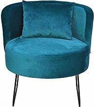 Happy Barok Sessel Lever Velor, Blau, 58 x 55 x 65