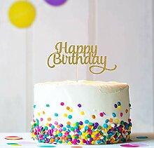 Happy Birthday Cake Topper Tortendeko Glitzer