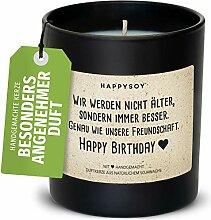 Happy Birthday Duftkerze im Glas mit Spruch aus