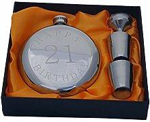 Happy Birthday Flachmann-Set, Silver with 21
