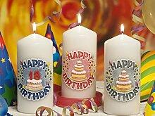 HAPPY BIRTHDAY Geburtstagskerzen Deko Kerze, Kerze, Handgefertigte Kerze, Geschenkidee (rot)