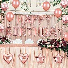 Happy Birthday Girlande Rosegold Luftballon