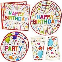 Happy Birthday Party Supplies Geschirr-Set 24