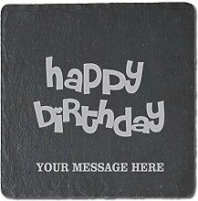 Happy Birthday Untersetzer aus Schiefer, 4Stück