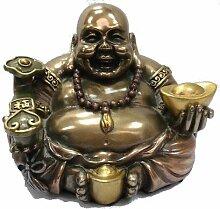 Happy Buddha bronziert 11 cm Figur Feng Shui