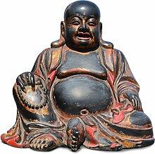 Happy Buddha-Figur (95 cm) in schwarz - Asien