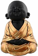 Happy-Buddha-Figur, meditierend, Rotgold bemal