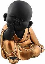 Happy-Buddha-Figur, meditierend, Rotgold bemalt,