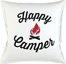 Happy Camper Schlafsofa Home Décor Kissen Kissenbezug Fall Weiß