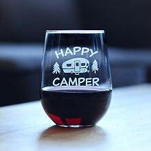 Happy Camper witziges Weinglas ohne Stiel,