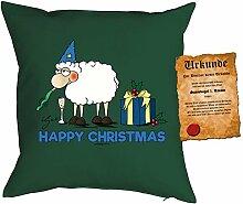 Happy Christmas Happy Christmas Polster Geschenkidee Kuschelkissen Kissen - Dekokissen Sofakissen Geschenk Weihnachten Nikolaus
