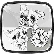 Happy French Bulldogge quadratische Knöpfe