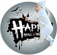 Happy Halloween Mond Fledermaus Teppich, rund,