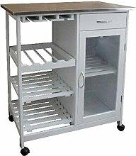 Happy Home Küchenwagen mit Metallplatte Weiß